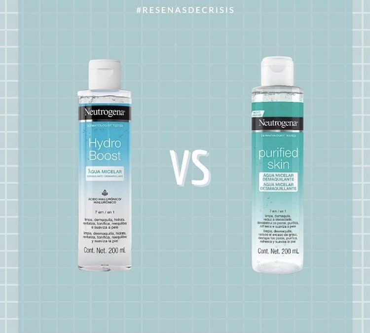 Agua Micelar Hydro Boost Vs. Agua Micelar Purified Skin – comparamos las aguas micelares de Neutrogena.